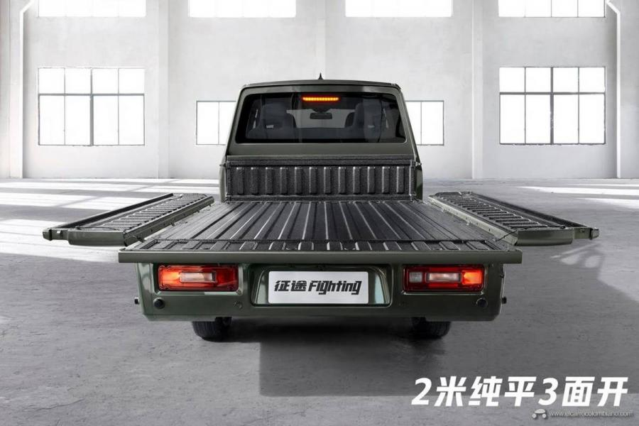 2021-Wuling-Journey-Pikcup-Orange-line-China-Exterior-004-rear-end-cargo-box-tailgate