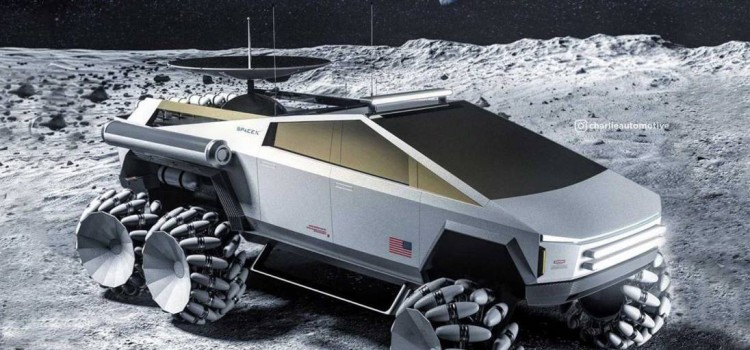 tesla cybertruck, tesla cybertruck six-wheeler moon rover, Six-Wheeler Moon Rover version espacial, Six-Wheeler Moon Rover diseño lunar, Six-Wheeler Moon Rover proyeccion digital, Six-Wheeler Moon Rover render, Six-Wheeler Moon Rover noticias, Six-Wheeler Moon Rover diseños