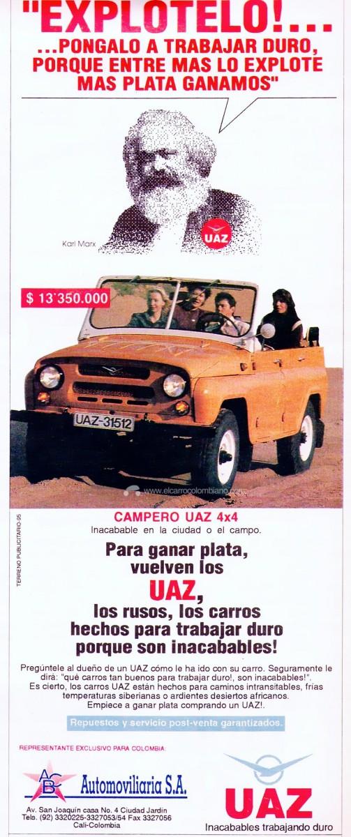 uaz, uaz colombia, camperos uaz colombia, uaz 469b, uaz 3151, uaz 469b colombia, uaz 3151 colombia, uaz publicidad en colombia, uaz camperos en colombia, historia de uaz en colombia, karl marx, publicidad karl marx