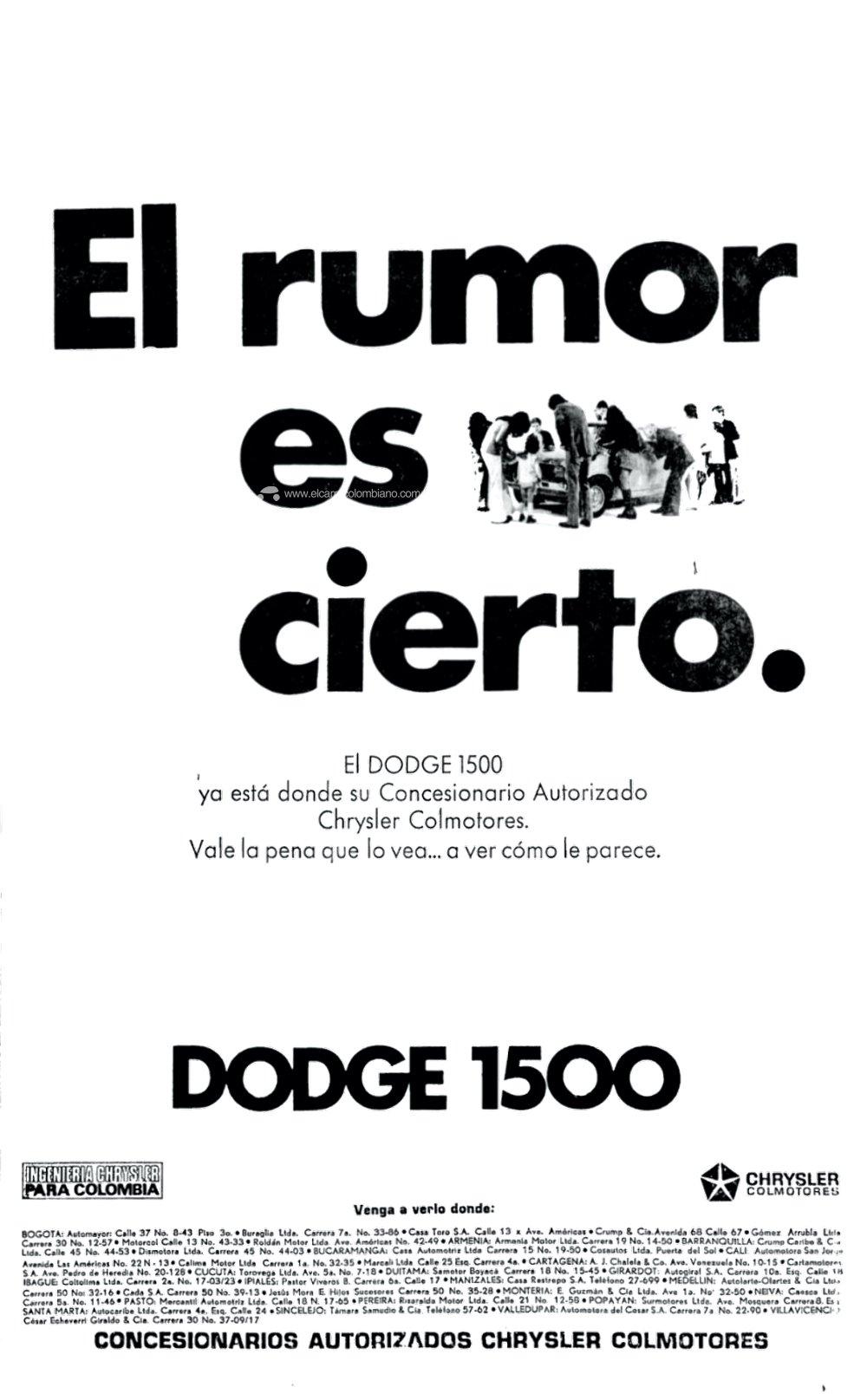 Dodge 1500 Publicidad en Colombia