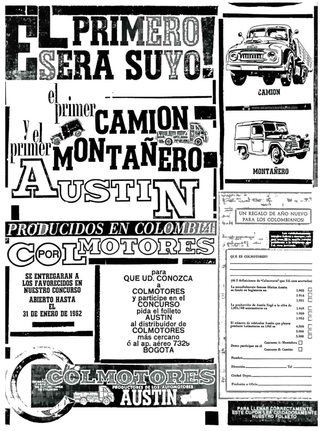 Primera publicidad de Austin Colmotores